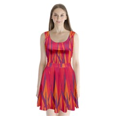 Pattern Split Back Mini Dress