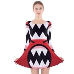 Funny Angry Long Sleeve Velvet Skater Dress