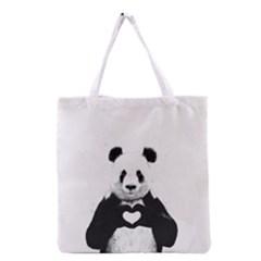 Panda Love Heart Grocery Tote Bag