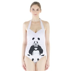 Panda Love Heart Halter Swimsuit