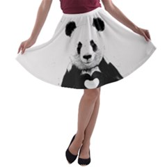 Panda Love Heart A-line Skater Skirt