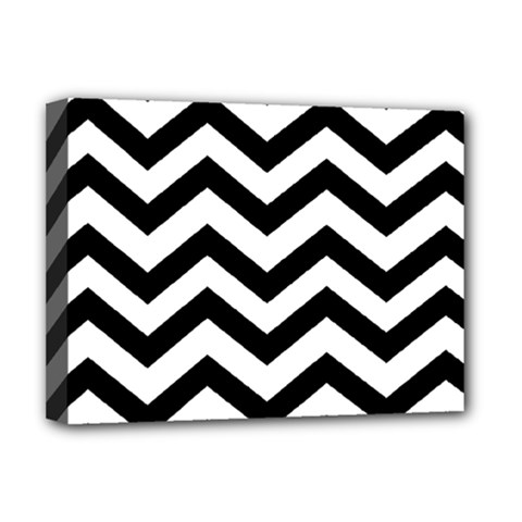 Black And White Chevron Deluxe Canvas 16  x 12
