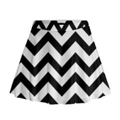 Black And White Chevron Mini Flare Skirt