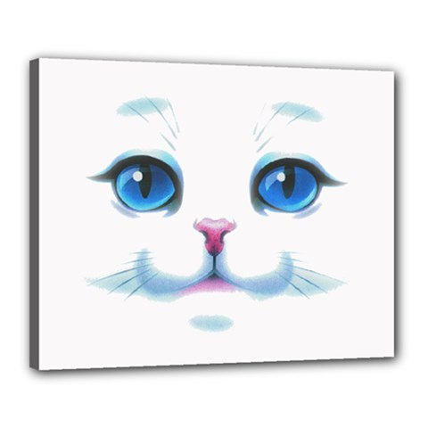 Cute White Cat Blue Eyes Face Canvas 20  x 16