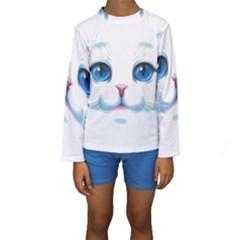 Cute White Cat Blue Eyes Face Kids  Long Sleeve Swimwear