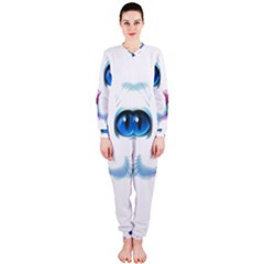 Cute White Cat Blue Eyes Face OnePiece Jumpsuit (Ladies)