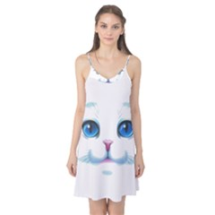 Cute White Cat Blue Eyes Face Camis Nightgown