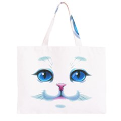 Cute White Cat Blue Eyes Face Large Tote Bag