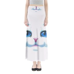 Cute White Cat Blue Eyes Face Maxi Skirts