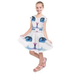 Cute White Cat Blue Eyes Face Kids  Short Sleeve Dress