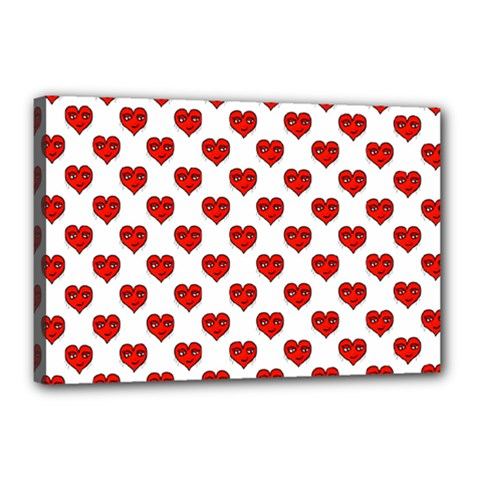 Emoji Heart Shape Drawing Pattern Canvas 18  x 12
