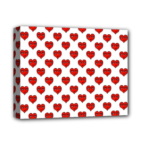 Emoji Heart Shape Drawing Pattern Deluxe Canvas 14  x 11