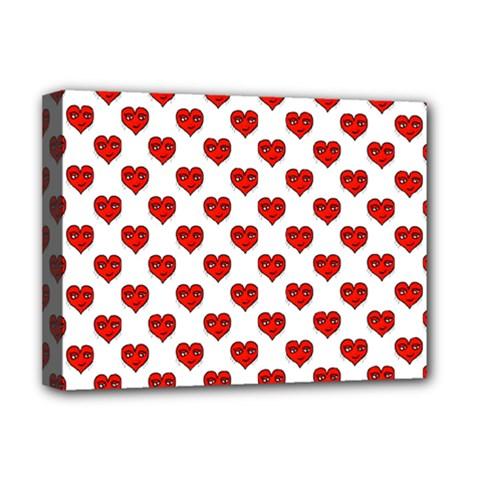 Emoji Heart Shape Drawing Pattern Deluxe Canvas 16  x 12