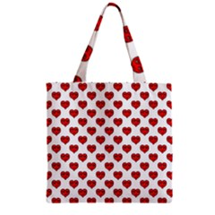 Emoji Heart Shape Drawing Pattern Zipper Grocery Tote Bag