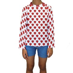 Emoji Heart Shape Drawing Pattern Kids  Long Sleeve Swimwear