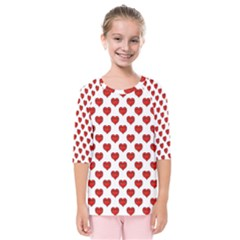 Emoji Heart Shape Drawing Pattern Kids  Quarter Sleeve Raglan Tee
