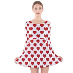 Emoji Heart Shape Drawing Pattern Long Sleeve Velvet Skater Dress