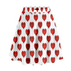 Emoji Heart Shape Drawing Pattern High Waist Skirt