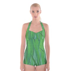 Pattern Boyleg Halter Swimsuit