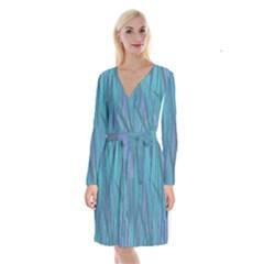 Pattern Long Sleeve Velvet Front Wrap Dress