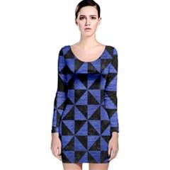TRI1 BK-MRBL BL-BRSH Long Sleeve Velvet Bodycon Dress
