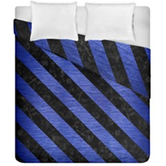 Stripes3 Black Marble & Blue Brushed Metal (r) Duvet Cover Double Side (california King Size)