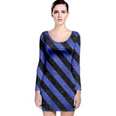 STR3 BK-MRBL BL-BRSH (R) Long Sleeve Velvet Bodycon Dress
