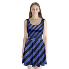 STR3 BK-MRBL BL-BRSH Split Back Mini Dress