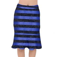 Stripes2 Black Marble & Blue Brushed Metal Short Mermaid Skirt