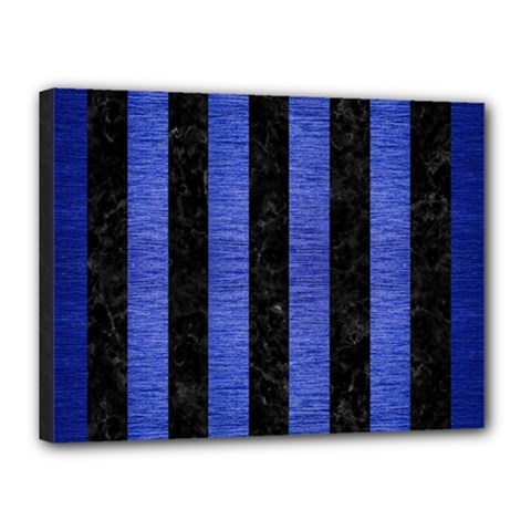 Stripes1 Black Marble & Blue Brushed Metal Canvas 16  X 12  (stretched)