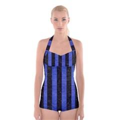 STR1 BK-MRBL BL-BRSH Boyleg Halter Swimsuit
