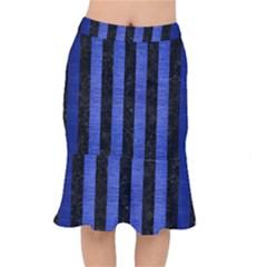 Stripes1 Black Marble & Blue Brushed Metal Short Mermaid Skirt