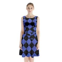 SQR2 BK-MRBL BL-BRSH Sleeveless Chiffon Waist Tie Dress