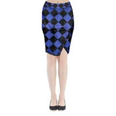 Square2 Black Marble & Blue Brushed Metal Midi Wrap Pencil Skirt