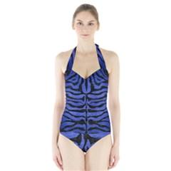 SKN2 BK-MRBL BL-BRSH (R) Halter Swimsuit