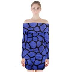 Skin1 Black Marble & Blue Brushed Metal Long Sleeve Off Shoulder Dress