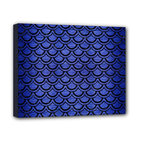 Scales2 Black Marble & Blue Brushed Metal (r) Canvas 10  X 8  (stretched)