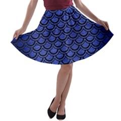 SCA2 BK-MRBL BL-BRSH (R) A-line Skater Skirt