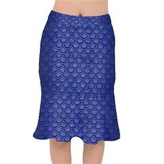 Scales2 Black Marble & Blue Brushed Metal (r) Short Mermaid Skirt
