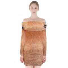 Chow Chow Eyes Long Sleeve Off Shoulder Dress