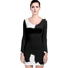 Chow Chow Silo Black Long Sleeve Velvet Bodycon Dress