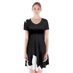 Chow Chow Silo Black Short Sleeve V-neck Flare Dress