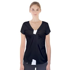 Chow Chow Silo Black Short Sleeve Front Detail Top