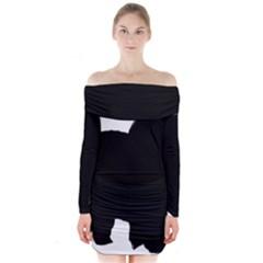 Chow Chow Silo Black Long Sleeve Off Shoulder Dress