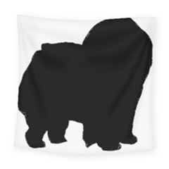 Chow Chow Silo Black Square Tapestry (Large)