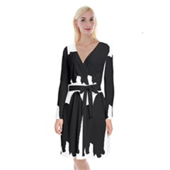 Chow Chow Silo Black Long Sleeve Velvet Front Wrap Dress