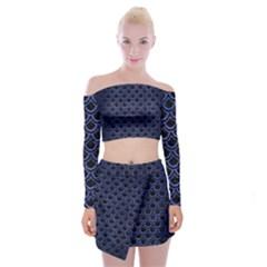 Sca2 Bk Mrbl Bl Brsh Off Shoulder Top With Skirt Set