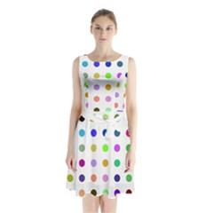 Circle Pattern  Sleeveless Chiffon Waist Tie Dress