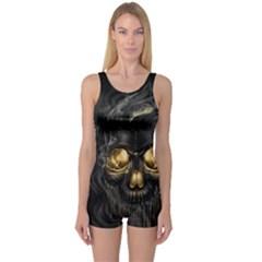 Art Fiction Black Skeletons Skull Smoke One Piece Boyleg Swimsuit