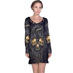 Art Fiction Black Skeletons Skull Smoke Long Sleeve Nightdress
